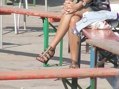 sexy legs in high heels walking in public