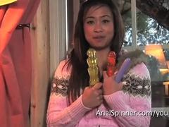 Sexy Asian ARIEL SPINNER dildo fucks hairy pussy