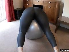 Big butt woman in tight lycra spandex leggings