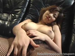 Young Asisn with big tits and a dildo