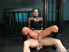 BDSM XXX Muscular subs are used by big breasted Mistress
