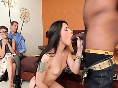 Black dude fucks gal and shemale