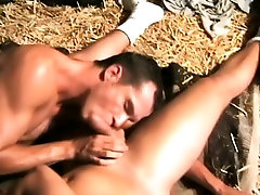 Muscled country boys show each other some oral and anal love in a gay three-way