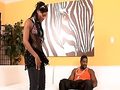 Beautiful ebony babe spreads her legs and gets fucked hard