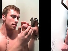 Sweet gay tugging and eating gloryhole cock