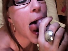Hot mature in glasses takes cock for a blow