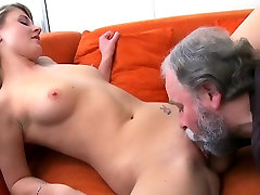 Lustful old lad explores young juicy body of a pretty angel