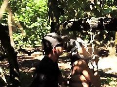 Tied teen fucked outdoors