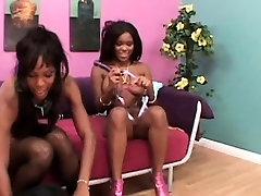 Busty ebony lesbian dildo fucking herself
