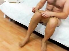 Gay teddy bear does a solo in nylon panty-hose