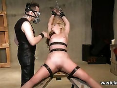 Electro play and pegging for bound blonde sex slave
