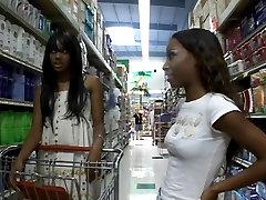 Ebony teen using a dildo