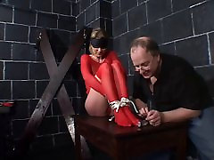 Big tits hottie in red fishnets bound for a husband wife bimbo session