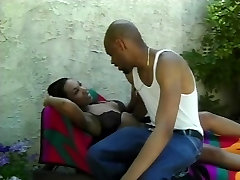 Black guy fucks and facializes ebony girlfriend