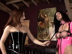 Lesbian india ladies bf girls in pink and black latex whip, spank, and torture young slave