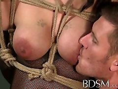 BDSM XXX Russian sub beauty is suspended from the ceiling