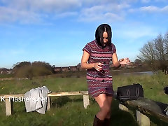 Exhibitionist Chloe Lovettes public flashing and sexy