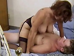 Busty blow your mind Serena sucking her boyfriend and riding on cock