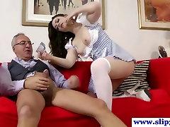 Young british babe fucking old man pole