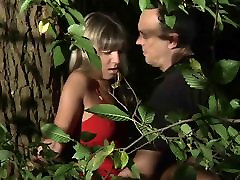 Very hot blonde teen bound and fucked in the forest