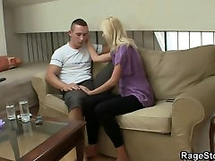 Blonde whore takes rough throat and cunt pounding