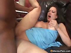 Black man satisfies busty mom