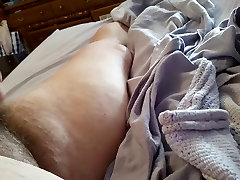 rubbing her see through pantys on my cock, hairy pussy