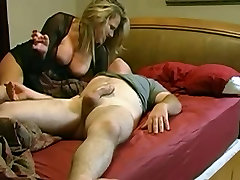 Mature hot blonde wakes her boyfriend with hot blowjob