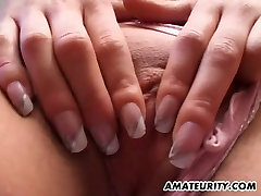 Busty amateur girlfriend sucks and fucks with cum in mouth
