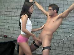 homemade, bdsm handjob for a chained young guy