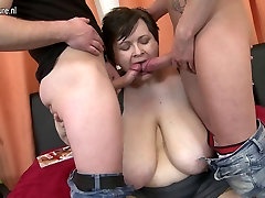 Huge breasted BBW mother fucking two toy boys