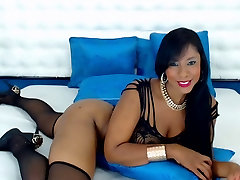 Sexy Ebony in Black Lingerie Teases on Webcam