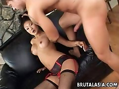 Asian brunette whore sucks and gets ass fucked real rough